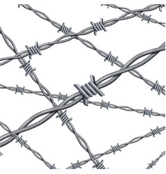 realistic 3d detailed barbed wire line background vector image