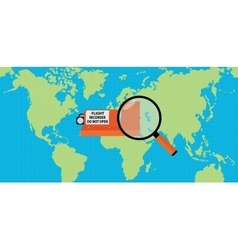 searching flight recorder black box with map as vector image