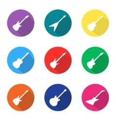Set of guitar flat icons vector
