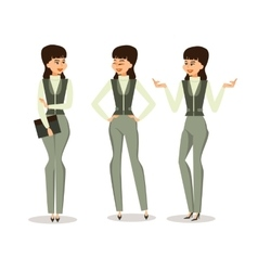 Set successful business woman in different poses vector image vector image