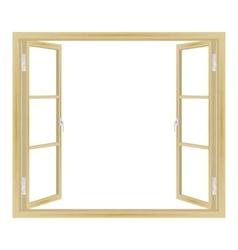 open wooden window vector image