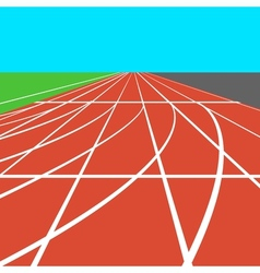 Red treadmill at the stadium with white lines vector image vector image