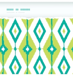 Emerald green ikat diamonds horizontal torn vector image vector image