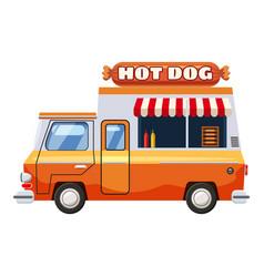 Hot dog van mobile snack icon cartoon style vector