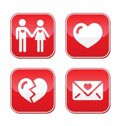 Love Valentines Day buttons set vector image