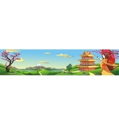 Panorama nature in Japan vector image vector image