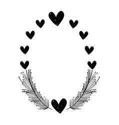 rustic feathers with hearts decoration design vector image vector image