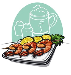 Shrimp grilled vector image vector image