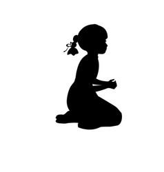 silhouette girl sitting lap prayer vector image vector image