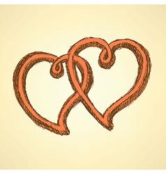 Sketch hearts in vintage style vector image vector image