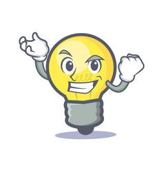 Successful light bulb character cartoon vector