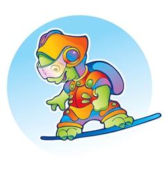 Alien flying on air skateboard vector image