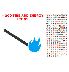 burned match icon with bonus fire set vector image