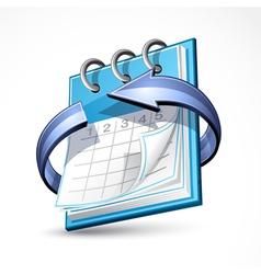 calendar with blue arrow vector image vector image