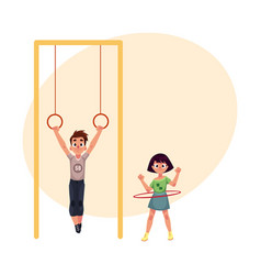 friends at playground hanging on gymnastic rings vector image vector image