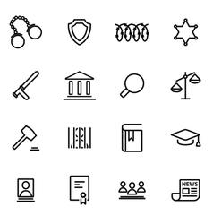 line justice icon set vector image