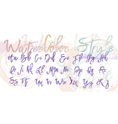 alphabet in watercolor style vector image
