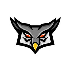 Angry horned owl head front mascot vector