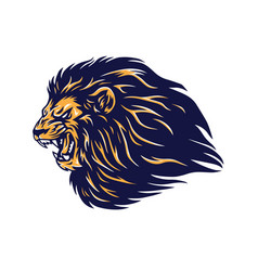 Angry wild lion head mascot vector