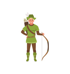 Archer with bow european medieval character in vector