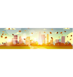 Beautiful autumn city skyline with yellow leaves vector