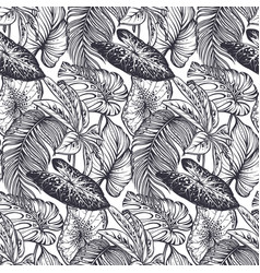 beautiful seamless pattern with tropical jungle vector image