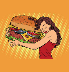 Beautiful young woman hugging burger vector