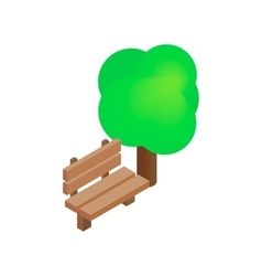 Bench and tree isometric 3d icon vector image