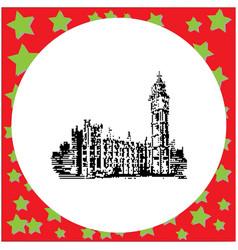 black 8-bit big ben clock tower and parliament vector image