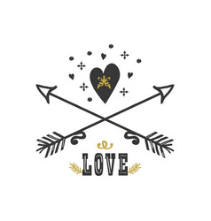 black and golden hand drawn heart and arrows vector image
