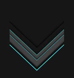 Blue neon line grey arrow overlap on dark vector