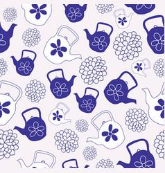 blue teapots seamless pattern design vector image