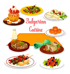bulgarian cuisine icon of lunch with dessert vector image