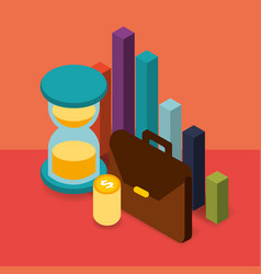 Business briefcase hourglass coins chart money vector