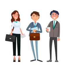 Businesswoman and businessman partners meeting vector