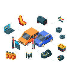 car repair isometric car parts concept vector image