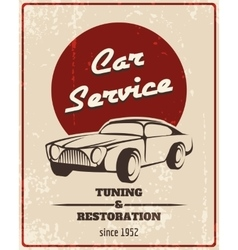 Car service retro poster vector