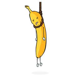 Cartoon character - banana suicide hanging vector
