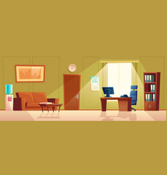 cartoon empty office with window modern vector image