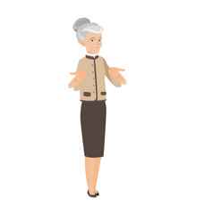 Caucasian business woman shrugging shoulders vector