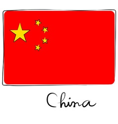 China flag doodle vector image