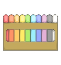 Colored pastel crayon set icon cartoon style vector image