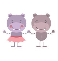 Colorful caricature with couple of hippos holding vector