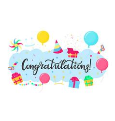 congratulations hand lettering festive vector image