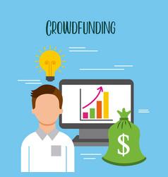 Crowdfunding business man pc graph financial money vector