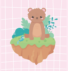 Cute little bear sitting with parrot foliage vector