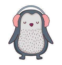 Cute little penguin with earphones vector