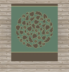 Dark card made of circle with autumn leaves vector image