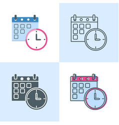 date and time schedule concept icon set in flat vector image