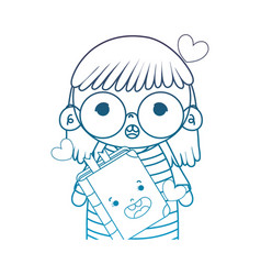 Degraded outline girl with glasses and kawaii vector